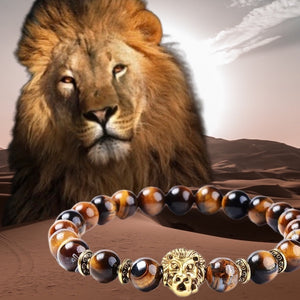 Courageous Tiger Eye with lion bracelet (8MM)