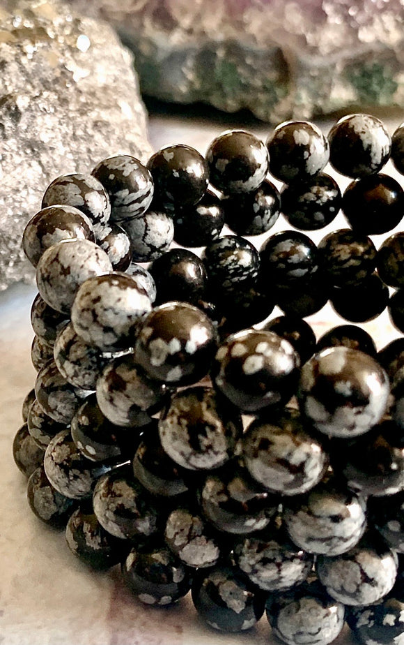 """Free Your Mind"" Snowflake Obsidian Healing Bracelet - The Magic Moon Garden"