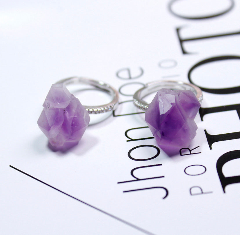 """Spiritual Awareness""Raw Amethyst Originality Crystal Stone Adjustable Ring"
