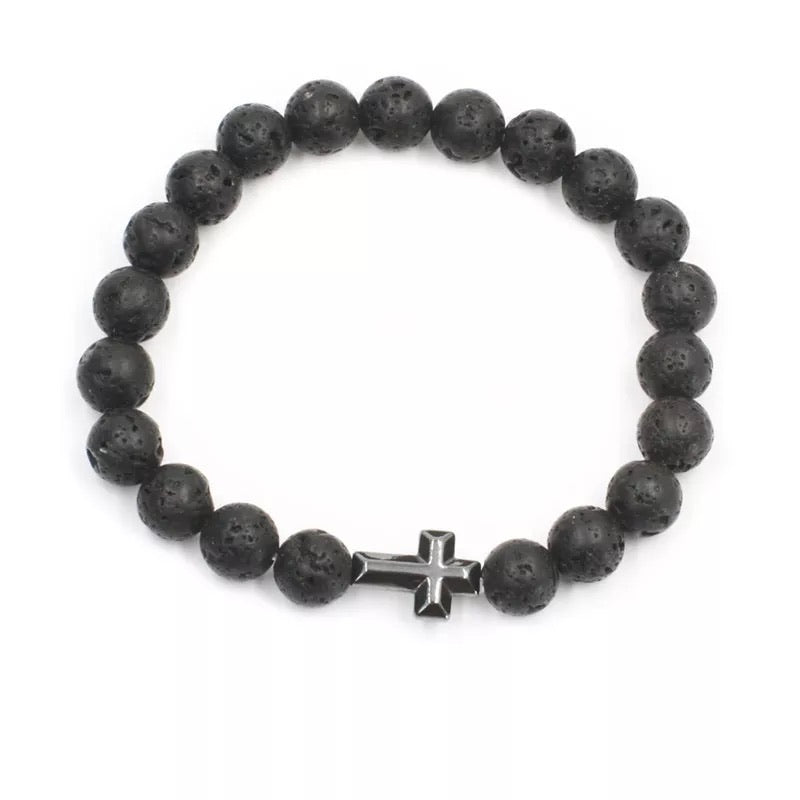 Cross Lava Energy Stone Bracelet diffuser (8MM) - The Magic Moon Garden