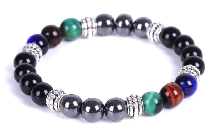 3 Tiger Eye Power of 3 Triple Protection Color Block Healing Bracelet (8MM)