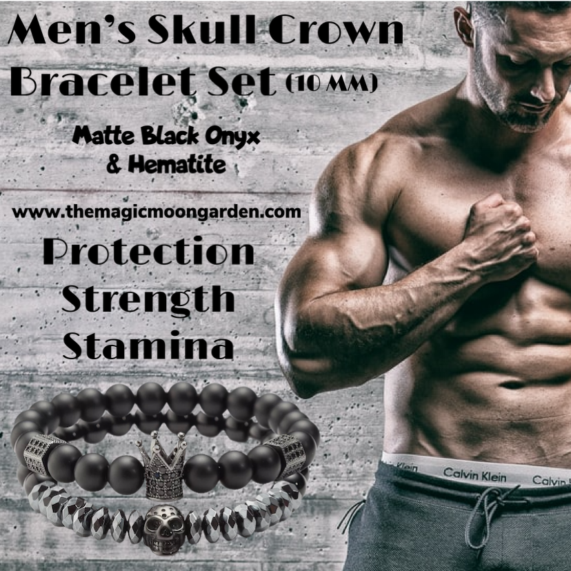Men's Skull Crown Black Matte Onyx Bracelet Set (10MM) - The Magic Moon Garden
