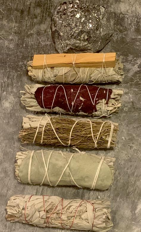 4 inch Sage Bundles (3 bundles).. Many Varieties! (Rose Petals, Palo Santo and etc) - The Magic Moon Garden