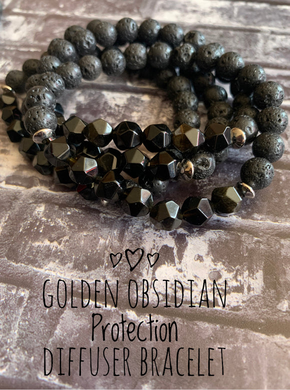 Golden Obsidian Protection Diffuser Bracelet (8MM) - The Magic Moon Garden