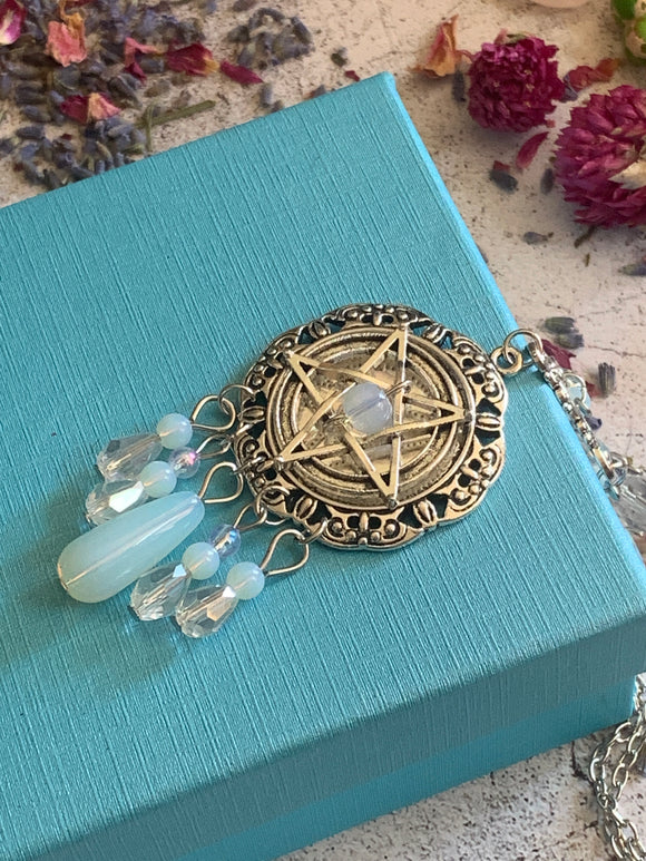 The  Protection Pentagram Crystal Gemstone Opalite Pendant - The Magic Moon Garden