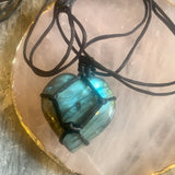 """Heart Shape"" Dragon's Heart Labradorite Pendant - The Magic Moon Garden"