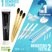 Whitening Teeth Kit with LED Light - Deluxe  with Charcoal Toothpaste and Brushes - aquahomegroup