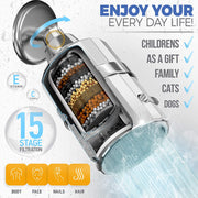 High Pressure Shower Head  and 15 Stage Filter For Hard Water Vitamin C + E, 2 Cartridges Included