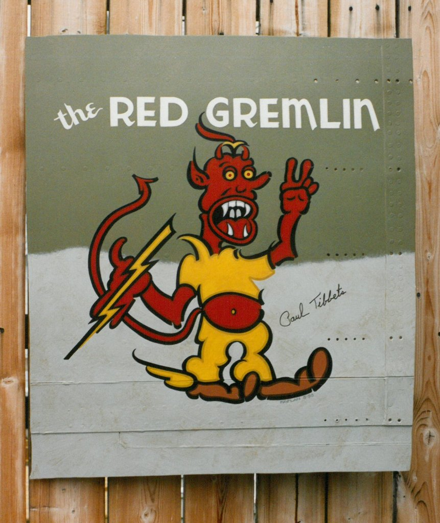 Signed RED GREMLIN B-17 Nose-Art on Aluminum