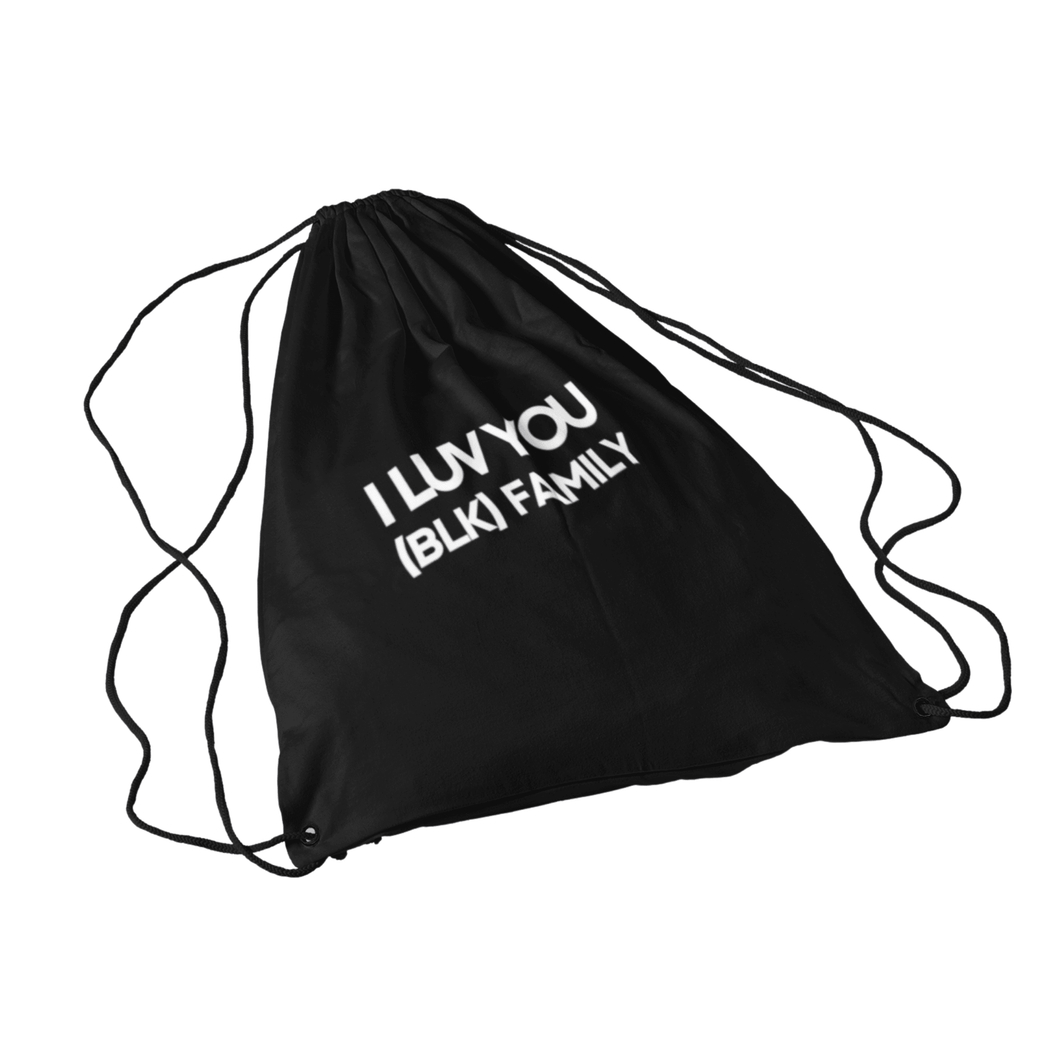 I LUV YOU (BLK) Drawstring Bag