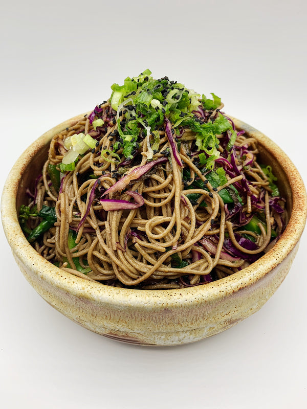 Cold Soba Noodles with Cabbage and Chinese Broccoli