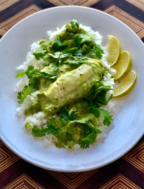 Green Coconut Curry Poached Cod