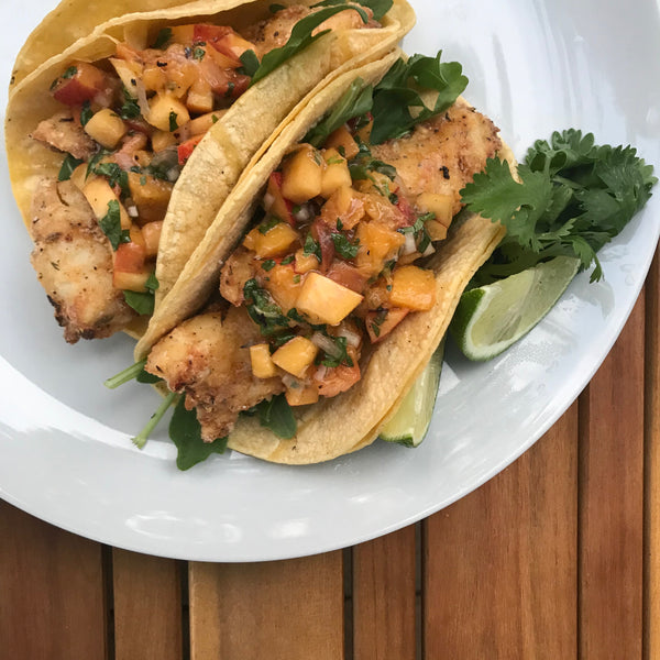 blackened fish tacos with grilled peach salsa