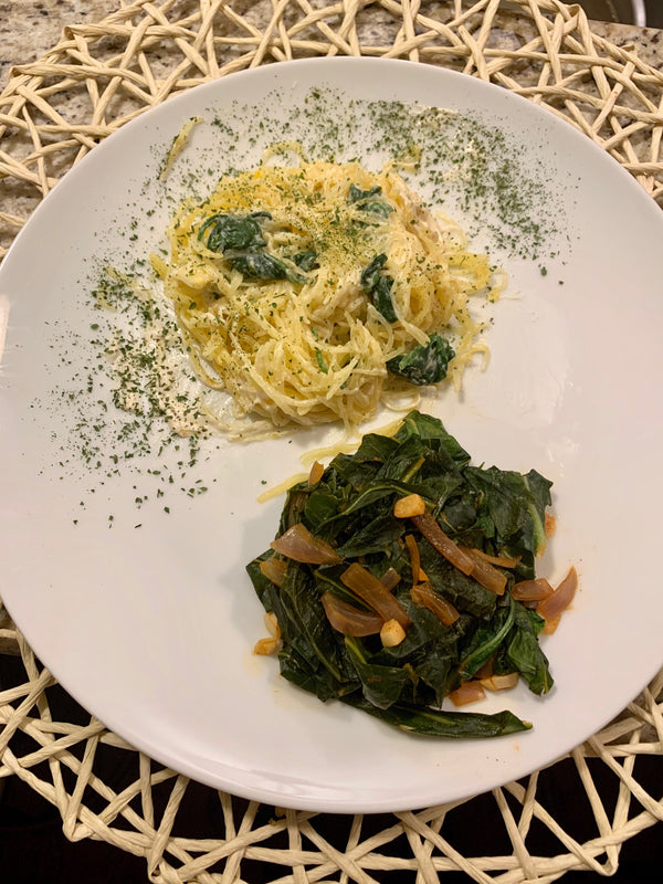 Vegan Alfredo Spinach Spaghetti Squash and Collard Greens