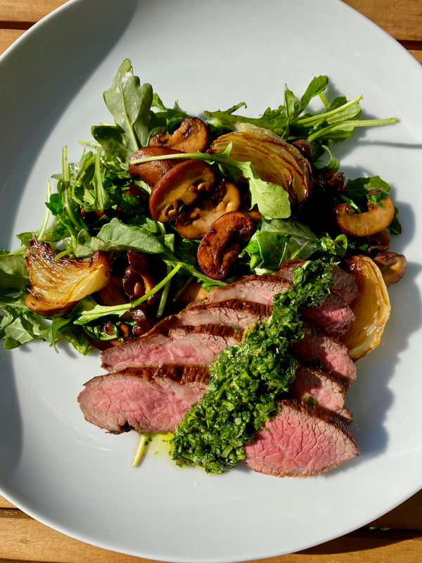 SEARED BISTRO STEAK WITH SALSA VERDE+WARM ARUGULA & MUSHROOM SALAD - Illuminate Food