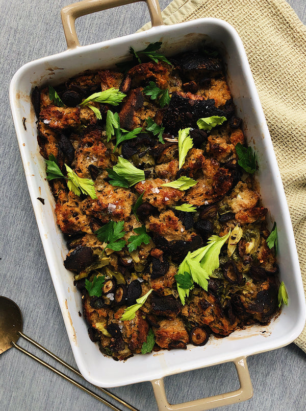 Grainy Bread Stuffing with Scallions and Crispy Mushrooms