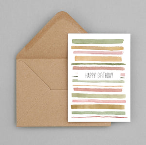 Happy Birthday stripes - greeting card and envelope, Birthday card 74