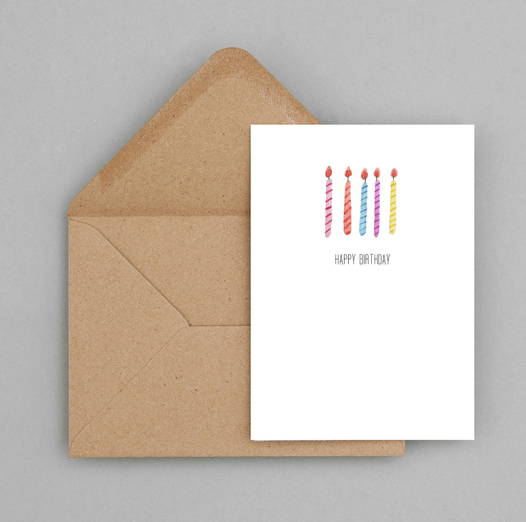 Happy Birthday Candles - greeting card and envelope