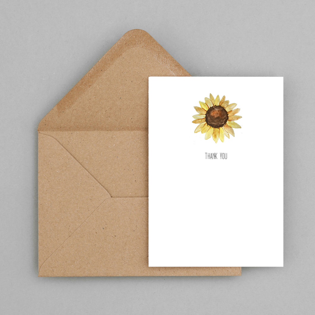 Sunflower Thank You card - greeting card and envelope