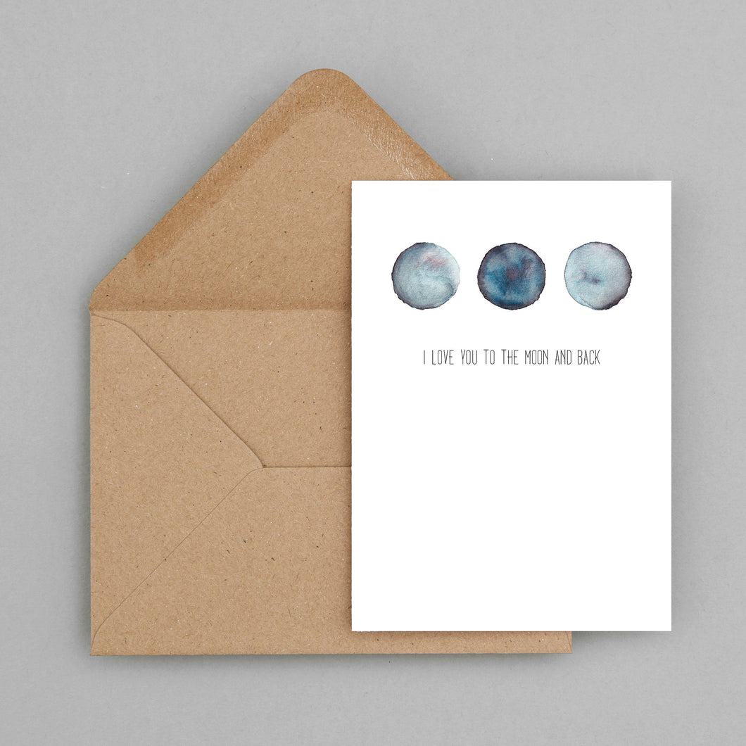 Moon design  - greeting card and envelope, love card