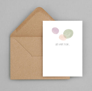 Just a note to say card, watercolours - greeting card and envelope, Just a note card