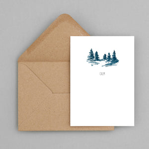 Calm  - greeting card and envelope, love card