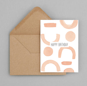 Happy Birthday abstract orange shapes- greeting card and envelope, Birthday Card