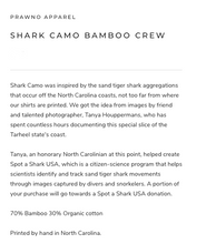 Load image into Gallery viewer, Prawno Shark Camo Bamboo Crew (Pewter)
