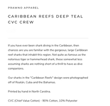 Load image into Gallery viewer, Prawno Caribbean Reefs CVC Crew (Deep Teal)