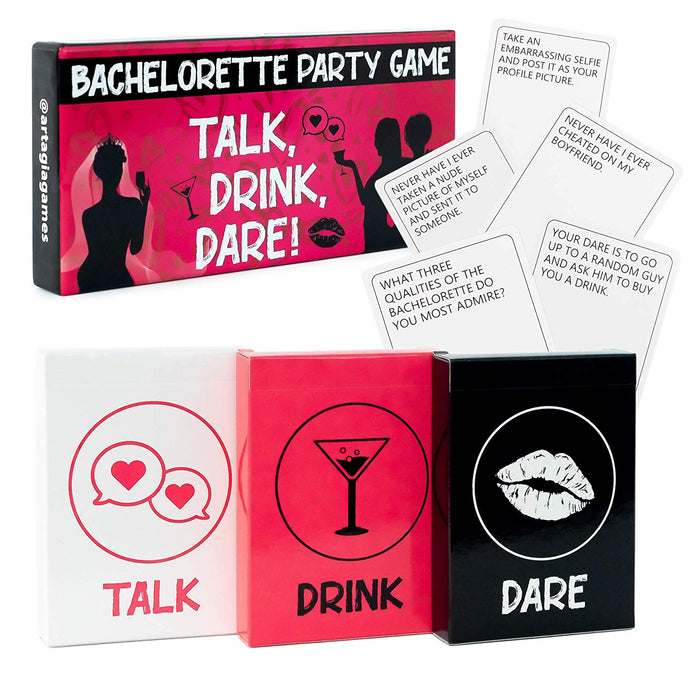 Bachelorette Party Games | 3-in-1 Game to Celebrate the Bride to Be | Fun Drinking Games and Dares for Girls' Night Out! | Essential Bachelorette Party Supplies/Girls Night Out Party Supplies