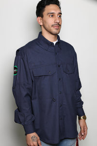 Permian FR Navy Green Label Button Down