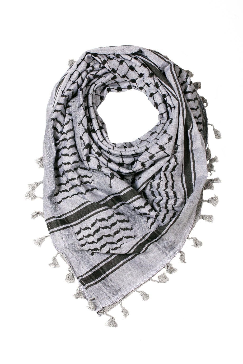 traditional Hirbawi black and gray Palestinian keffiyeh