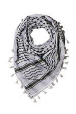 Load image into Gallery viewer, traditional Hirbawi black and gray Palestinian keffiyeh