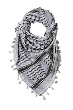 Load image into Gallery viewer, traditional Hirbawi black and grey Palestinian keffiyeh