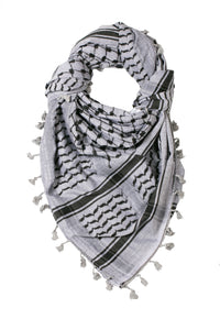 traditional Hirbawi black and grey Palestinian keffiyeh