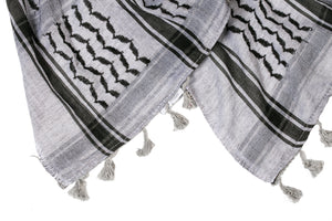 traditional Hirbawi black and gray Palestinian scarf