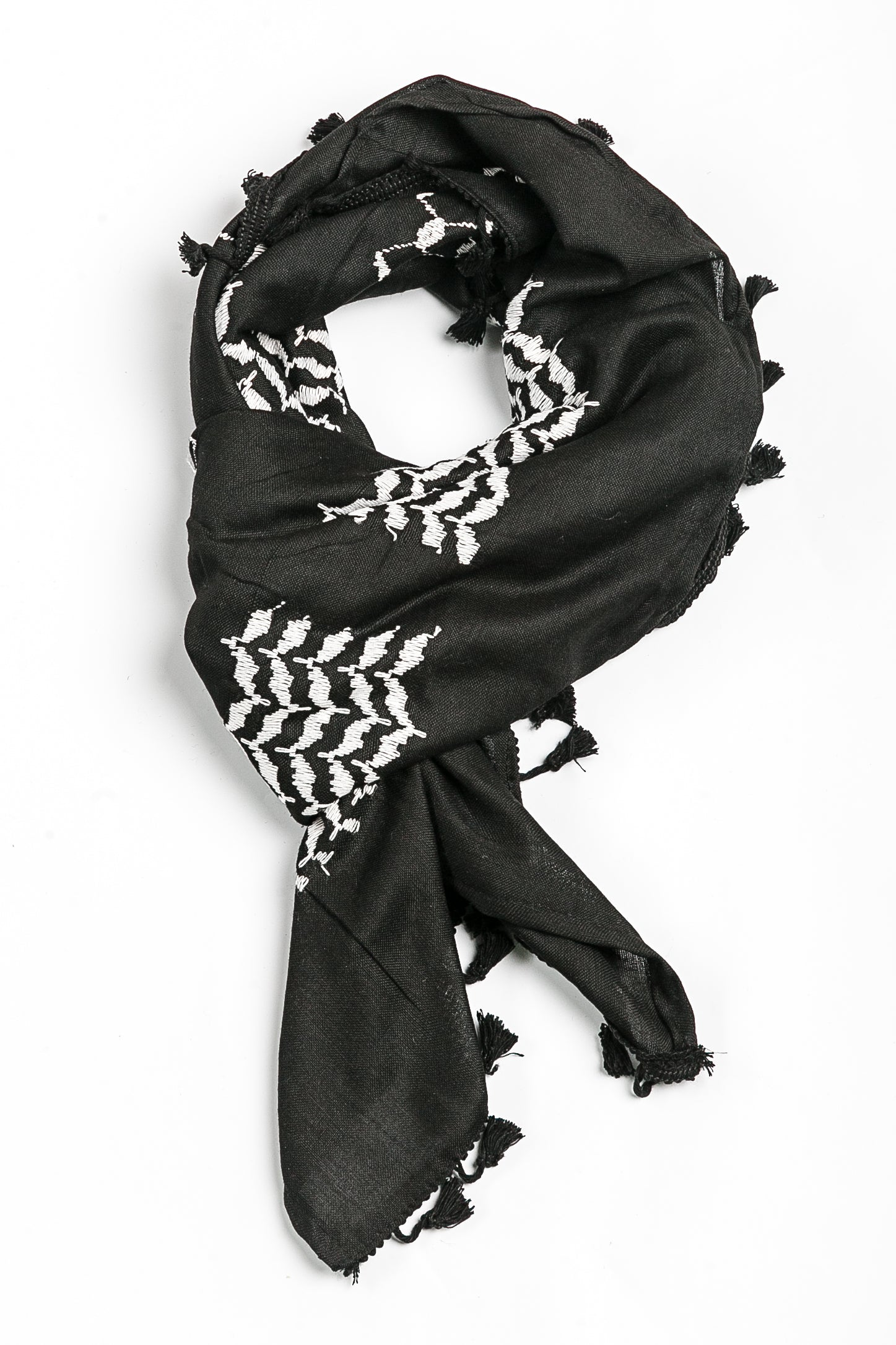 Black and white Hirbawi keffiyeh inverted