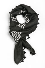 Load image into Gallery viewer, Black and white Hirbawi keffiyeh inverted