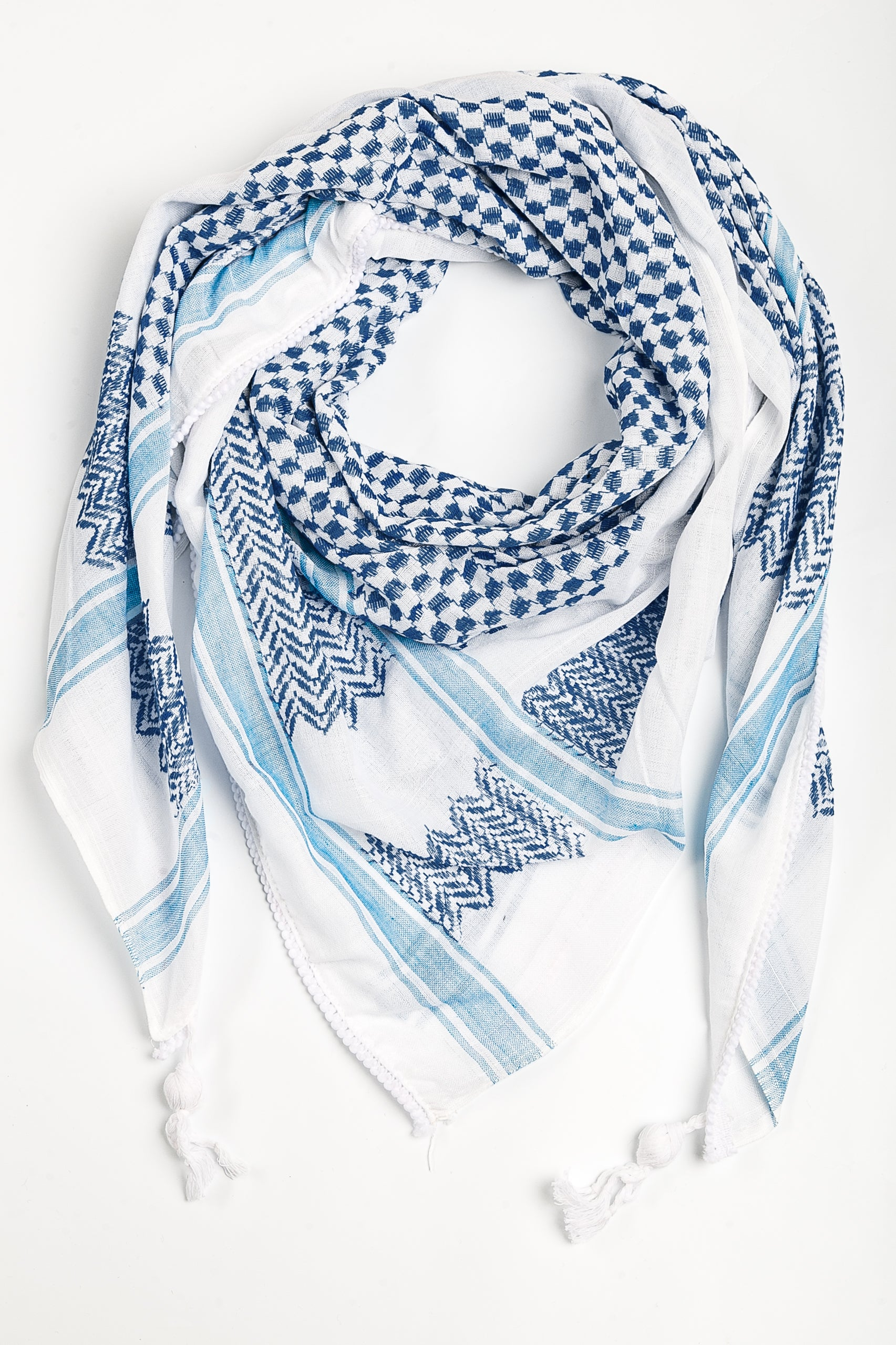 Palestinian kufiya white and blue