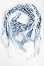 Load image into Gallery viewer, Palestinian kufiya white and blue