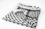 Load image into Gallery viewer, traditional Hirbawi black and white Palestinian keffiyeh