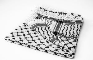 traditional Hirbawi black and white Palestinian keffiyeh