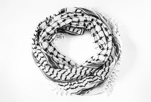 traditional Hirbawi black and white Palestinian scarf