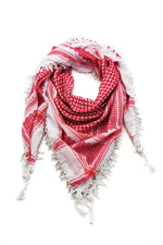 Load image into Gallery viewer, Red and White keffiyeh. Traditional design