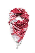 Load image into Gallery viewer, Thick kufiya. Red and White traditional patter by Hirbawi USA