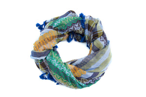 Hirbawi Original Kufiya. Colors of Bethlehem Palestinian scarf. Middle eastern fashion scarf