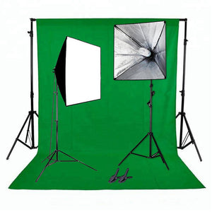 Mikrosat (CLK11) 2x85w Softbox Set mit Hintergrundsystem (Green screen)