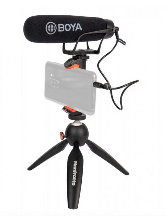 Vlogger kit with Manfrotto Pixi and Boya directional microphone