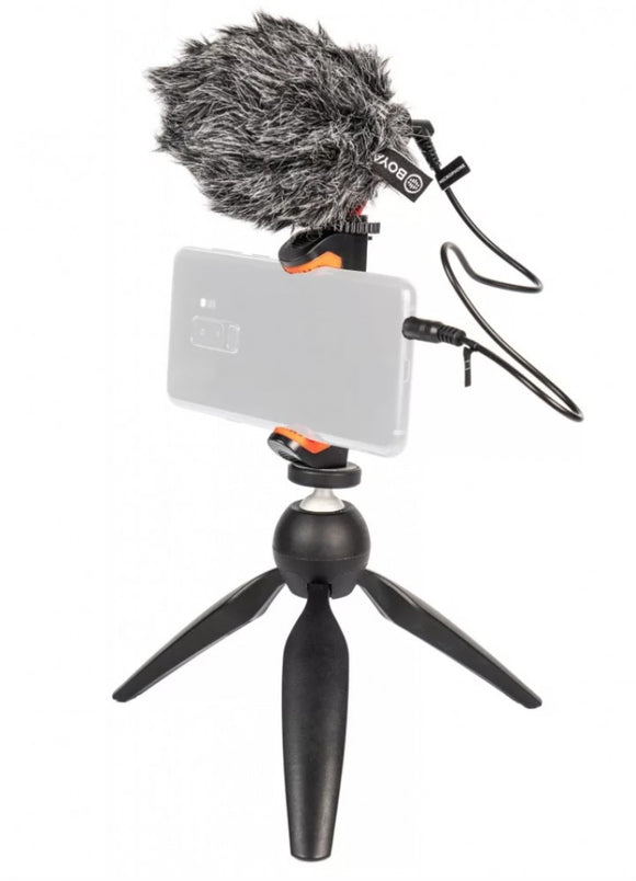 Vlogger mobile phone kit with video microphone