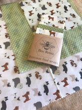 Load image into Gallery viewer, dog, dogs,Beeswax wraps, beeswax food wrap, food wrap, reusable food wrap, best beeswax wrap, beeswax wrap uk, beeswax wrap Cornwall, handmade beeswax wrap, wax food wraps, eco wrap, food wrap, food packaging